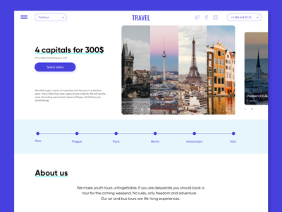 Travel agency concept traveling cityscape travel agency ux ui website web dribbble shot design concept