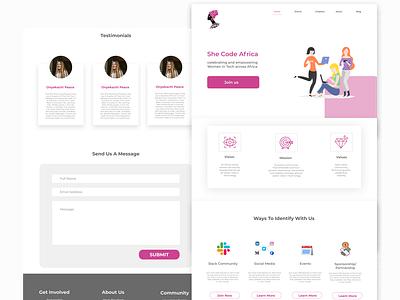 She code africa website redesign web design ui