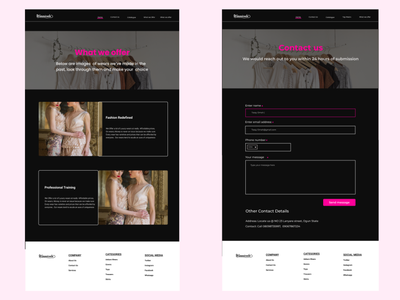 About and contact us pages for fashion website.