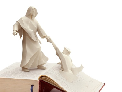 3D paper Jesus illustration 3d