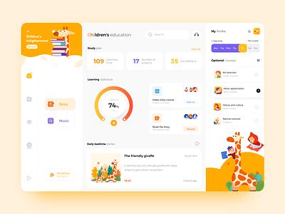 Management of children's education website web illustration ux ui app design
