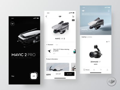 DJI drones extension mobile ux ui app design