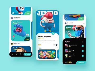 Cute Toy mobile ux app ui illustration design