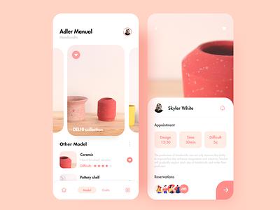 Pottery mobile ux ui app illustration design