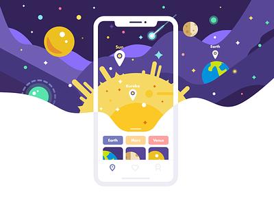Starry Story mobile app illustration design