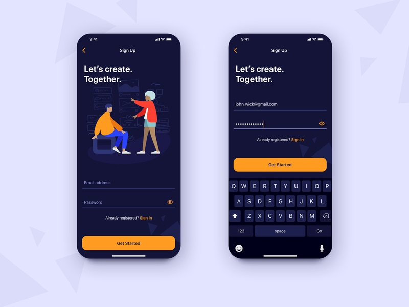Sign Up Dark Mode UI icons ux onboarding phone visual sketch ios button form field keyboard darkmode input form illustrations dailyui mobile app dark sign signup