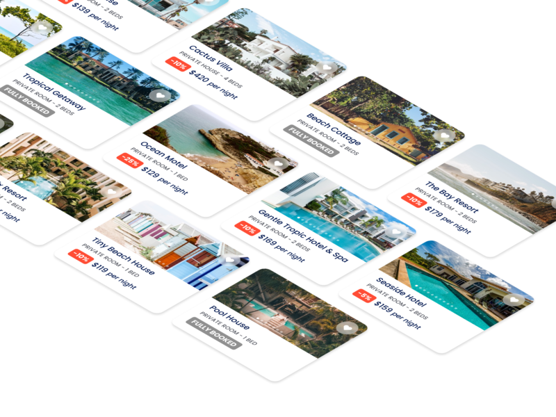 Travel Deals airbnb ui app travelling cards deals travel