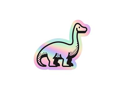 Holographic Dinosaur Sticker flat vector stickermule sauropod icon illustration holographic sticker dinosaur