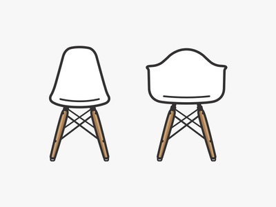 Vitra chairs illustration vector vitra chair dsw daw interior design eames simple icons