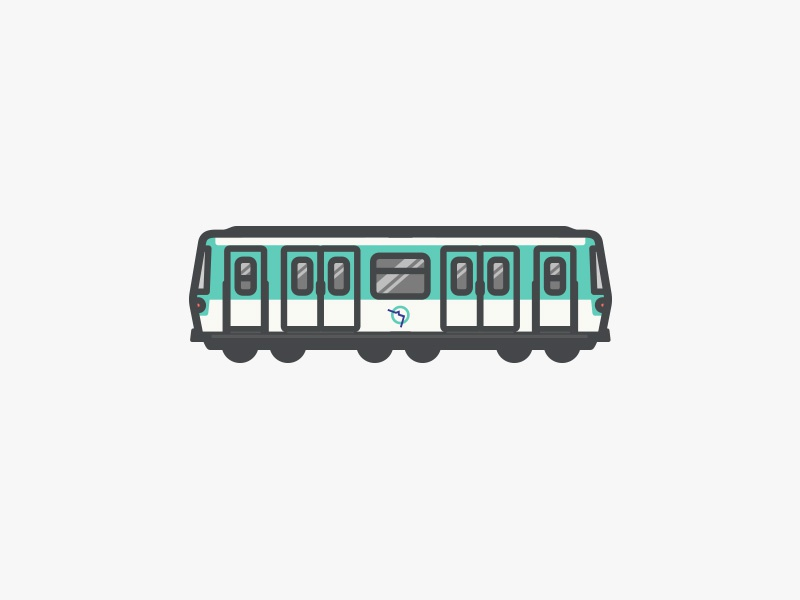 Métro Paris illustration simple vector flat little tiny train waggon paris metro subway france