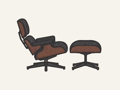 Vitra Eames Lounge Chair illustration simple vector chair lounge design eames icon interior vitra ottoman