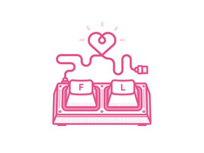 Dribbble Keyboard pink heart keycaps keys mechanical like simple illustration vector love keyboard dribbble