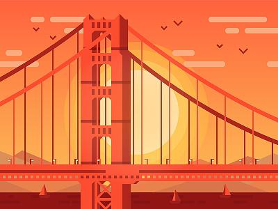 Golden Gate Bridge golden gate bridge san francisco california usa bridge sunset vector simple illustration warm summer river