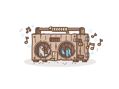 Wooden Boombox tweetbox twitter tweet illustration nature sound box sing wood natural birds boombox