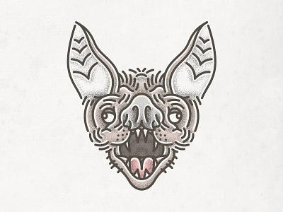 Bat Tattoo head vampire stippled tattoo bat