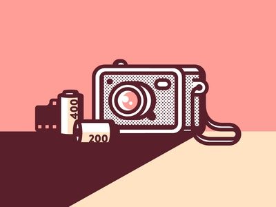 Analog Camera vintage illustration shoot 35mm analog film camera