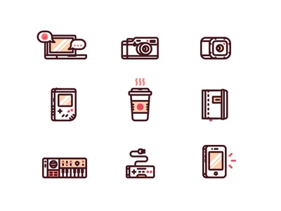 Work & Play Icons icons iphone nintendo gamepad synthesizer notebook coffee game boy gopro camera macbook laptop