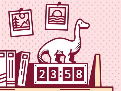 Dinosaur clock polaroid photos shelf figure toy emoji sauropod dinosaur