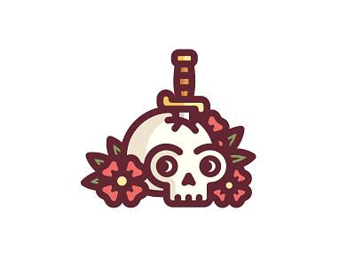 Skull & Dagger bones illustration rose knife sword flowers death tattoo dagger skull