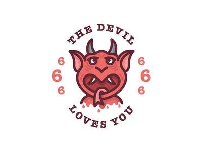 The Devil Loves You love hell beast 666 horns tattoo illustration satan devil
