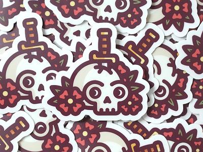 Skull & Dagger Stickers tattoo sword skull rose knife illustration flowers death dagger bones stickermule stickers