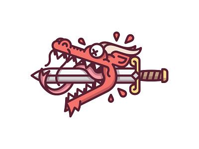 Dragon Slayer dead death illustration blood kill sword slayer dragon