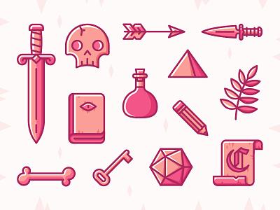 Dungeon Essentials rpg fantasy icons scroll fern potion dagger arrow skull sword