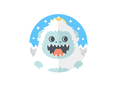 Yeti snow mountains ice fun monster vector simple yeti illustration colorful character