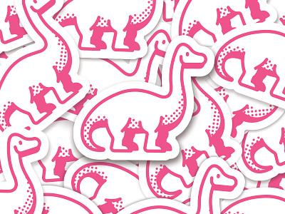 Dinosaur Stickers illustration cute sauropod animal simple stickermule sticker emoji dinosaur