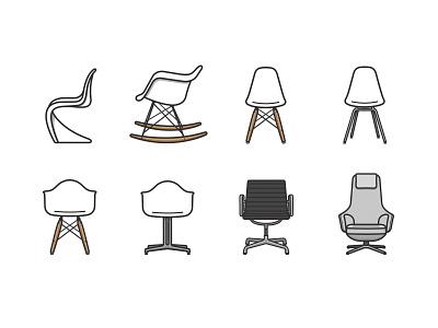 Vitra Classics vitra vector simple interior illustation icon furniture design furniture eames chair
