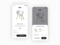 Product Page ios shopping cart cart shopping interior black white simple ui ux mobile app mobile hay product shop