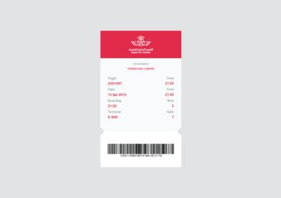 Royal Air Maroc Ticket