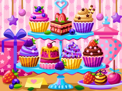 Cupcakes sweets berries cupcake draw web graphicdesign digital coloringbook illustration flat vector colorbook art artwork game gameart