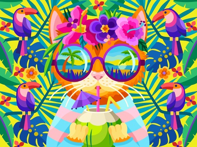 Tropical vacation beach sea coctail coconut cat tropical flower draw web graphicdesign digital coloringbook illustration flat vector colorbook art artwork game gameart
