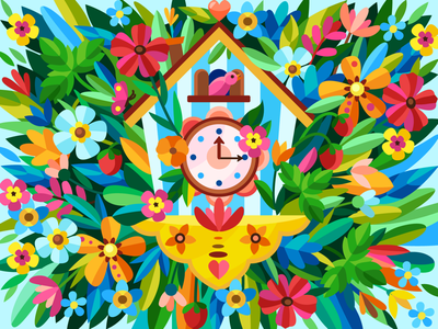 Cuckoo-clock spring cuckoo-clock clock flowers draw web graphicdesign digital coloringbook illustration flat vector colorbook art artwork game gameart