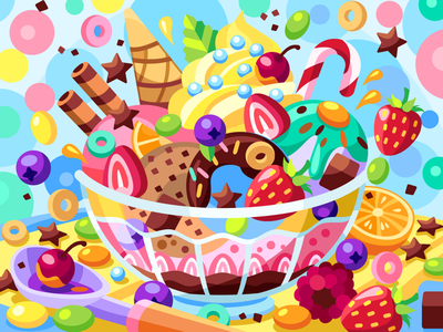 Big dessert berries sweet icecream dessert draw web graphicdesign digital coloringbook illustration flat vector colorbook art artwork game gameart