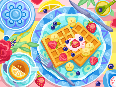 Belgian waffles bananas breakfast lemon tea berry waffles food draw web graphicdesign digital coloringbook illustration flat vector colorbook art artwork game gameart