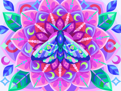 Moth flower butterfly moth draw web graphicdesign digital coloringbook illustration flat vector colorbook art artwork game gameart