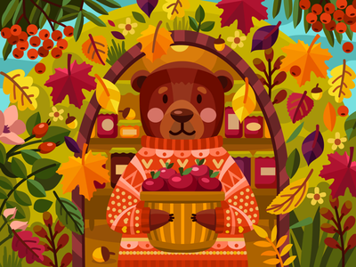 Cute bear cute berries flower autumn apples bear graphicdesign leaffall coloringbook illustration flat vector colorbook art artwork game