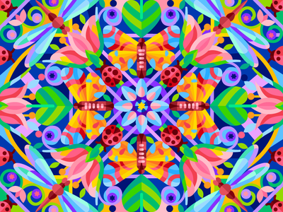 Kaleidoscope pattern butterfly dragonfly flower kaleidoscope graphicdesign digital coloringbook illustration flat vector colorbook art artwork game