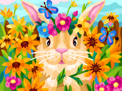 Pretty hare animal cute pretty nature summer rabbit flower hare cartoon graphicdesign digital coloringbook illustration flat vector colorbook art artwork