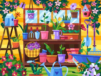 Garden summer garden flower ui