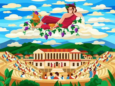 Dionysus digital design coloringbook colorbook artwork art flat vector illustration graphic design mobile game greece vine dionysus ui