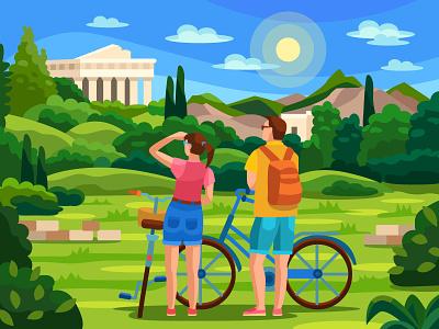 Temple of Hephaestus digitalart mobile game cartoon nature athens greece temple digital graphic design ui design coloringbook colorbook art flat vector illustration