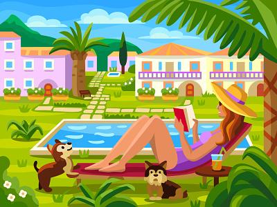 Hotel sunny character relaxation dog summer digital art digital mobile game girl hotel ui design coloringbook artwork colorbook art flat vector illustration