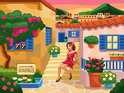 Anafiotika mobile game digitalart digital cartoon summer street girl sunset greece graphic design design coloringbook artwork colorbook art flat vector illustration