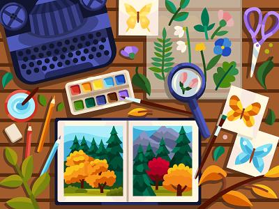Autumn Typewriter digital color herbarium hobby autumn design coloringbook artwork colorbook art flat vector illustration graphic design