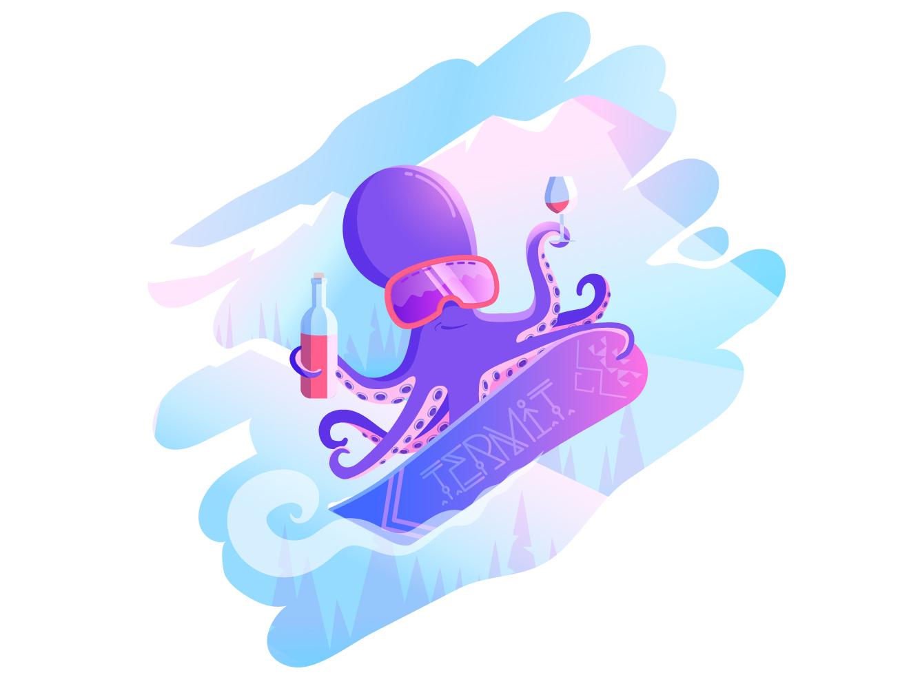 Octopus Snowboarder relaxation design art gradien animal snow wine vector art snowboarding snowboard octopus mountains art vector illustration design