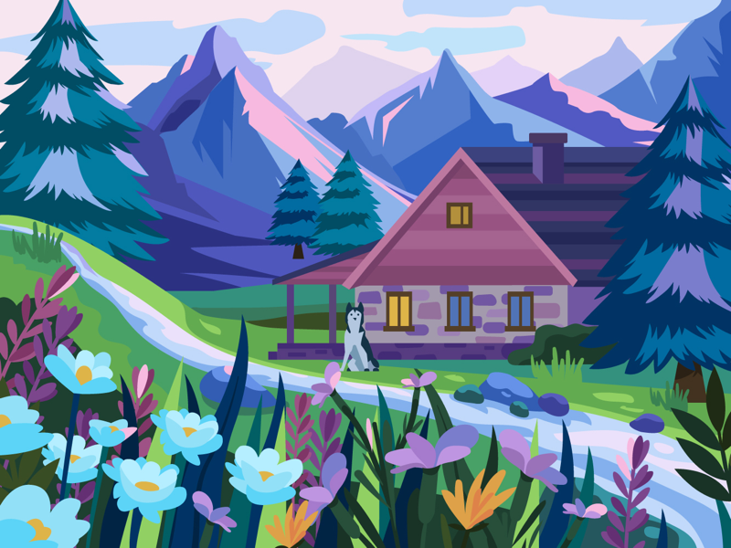 House in the mountains by Tatiana Kovaleva on Dribbble on older house design, neutral house design, color house design, movie house design, food house design, conventional house design, girly house design, local house design, whole house design, gold house design, colorful house design, shell house design, natural art, natural home, historical house design, oil house design, economic house design, strawbale house design,