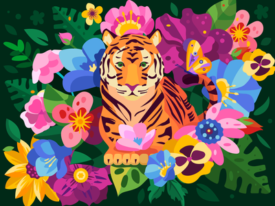 Tiger in flowers